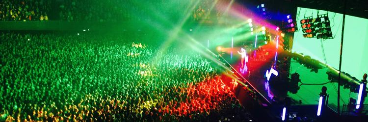 bovenaanzicht van concert , kleurige lichteffecten