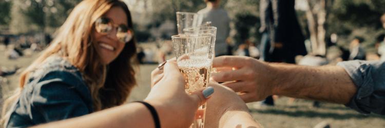 groep mensen in het park, proosten met champagne